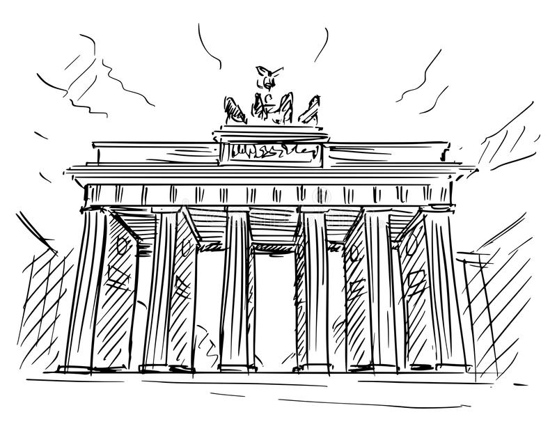 Cartoon Sketch of Brandenburg Gate, Berlin, Germany. Cartoon sketch drawing illustration of Brandenburg Gate in Berlin, Germany stock illustration