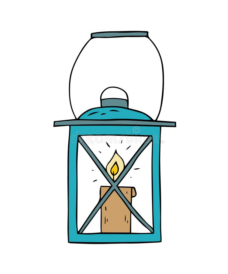 Cartoon sketch lamp on a white background royalty free illustration