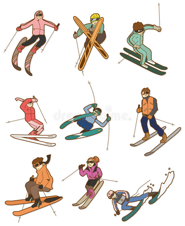 Cartoon ski people icon vector illustration