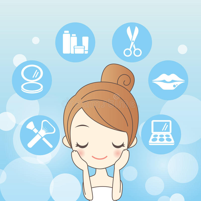 Cartoon skin care woman stock illustration
