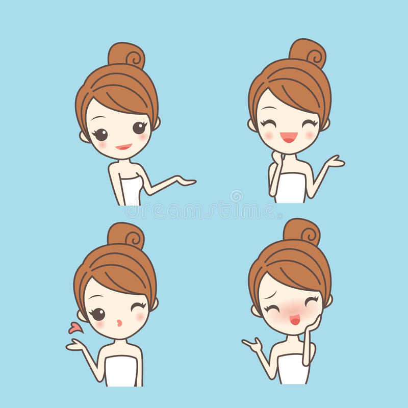 Cartoon skin care woman royalty free illustration