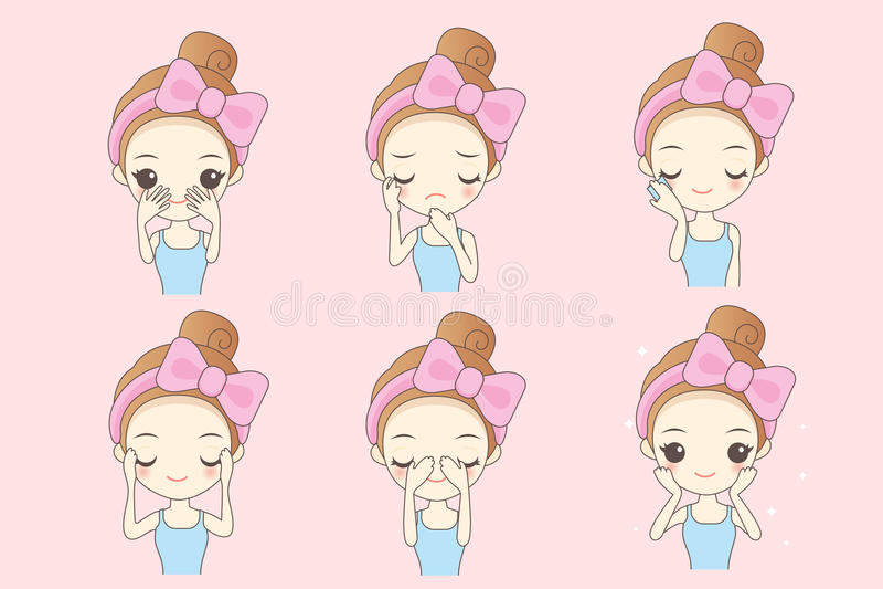 Cartoon skin care woman vector illustration