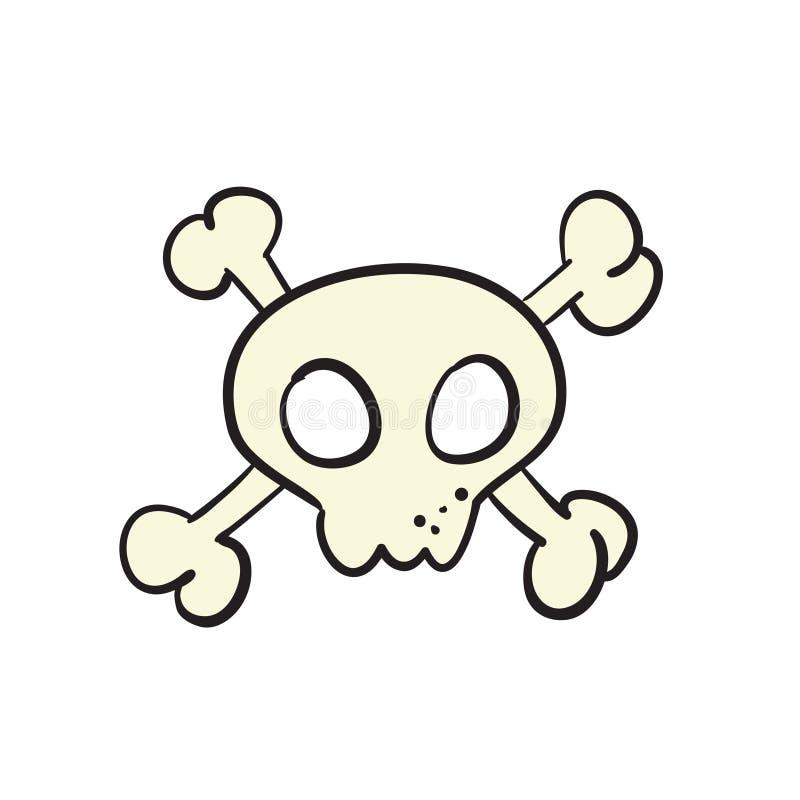 Cartoon skull and bones sign. Jolly roger pirate flag concept stock illustration