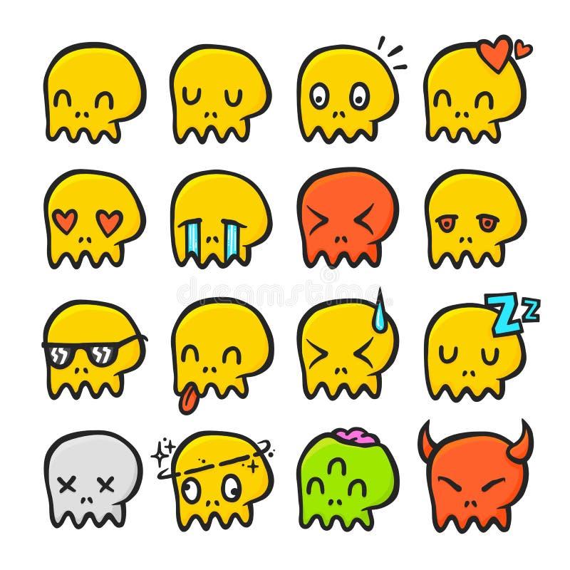 Cartoon skull emotions emoji isolated vector halloween set vector illustration