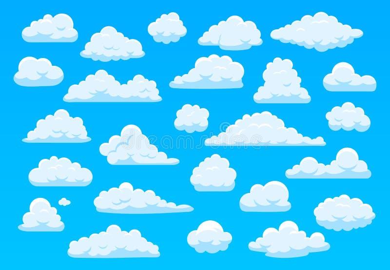 Cartoon sky clouds Fluffvita moln i blå himmel, starkt molnigt väder atmosfäriskt panorama Cute moln av royaltyfri illustrationer