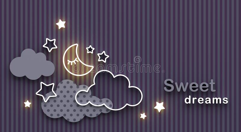 Cartoon sleeping moon, clouds and stars in the night sky. Wishing good night and sweet dreams. Greeting card with copy space. 3D r stock illustration