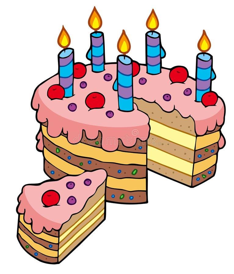 Cartoon Sliced Birthday Cake Stock Vector Illustration