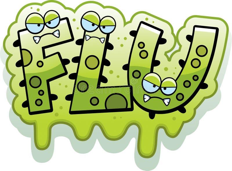 Cartoon Slimy Flu Bug Text stock illustration