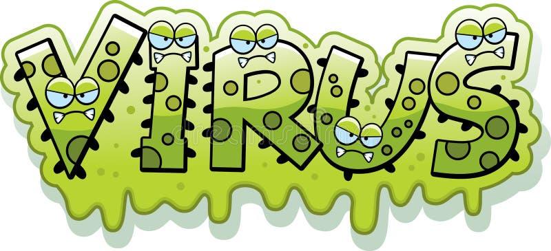 Cartoon Slimy Virus Text vector illustration