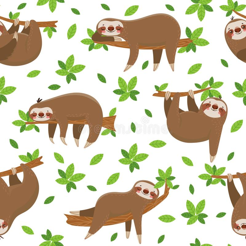 Cartoon sloth seamless pattern. Cute sloths on tropical lianas branches. Lazy jungle animal at rainforest trees vector stock illustration