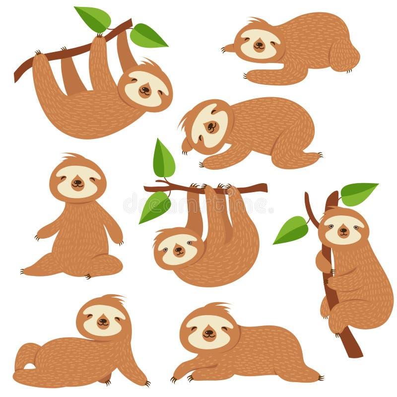 Cartoon sloths. Cute sloth hanging on branch in amazon rainforest. Lazy jungle animal vector characters. Sloth lazy wild animal, wildlife in rainforest vector illustration