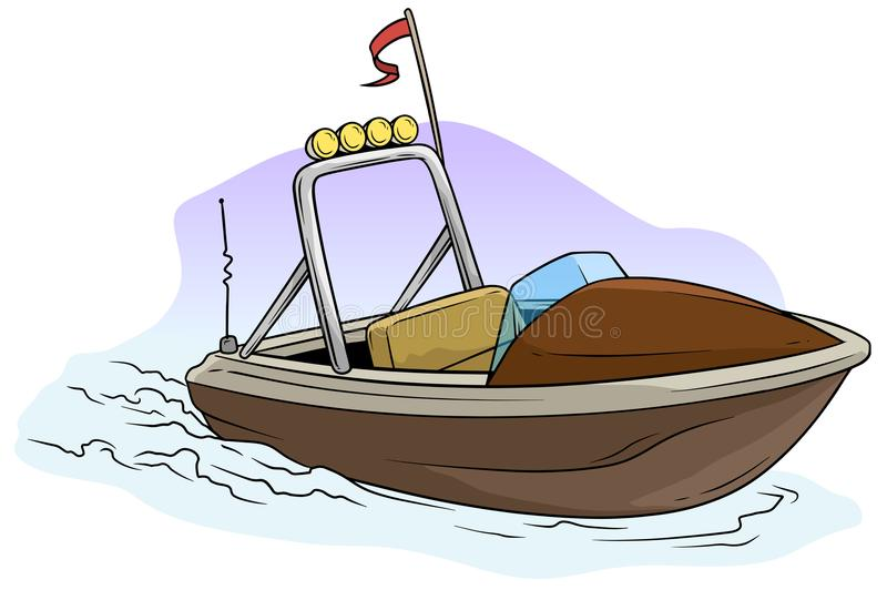 Cartoon small brown motor boat on the sea. With red flag and radio antenne. Vector icon royalty free illustration