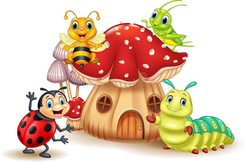 Cartoon small insect with mushroom house royalty free illustration