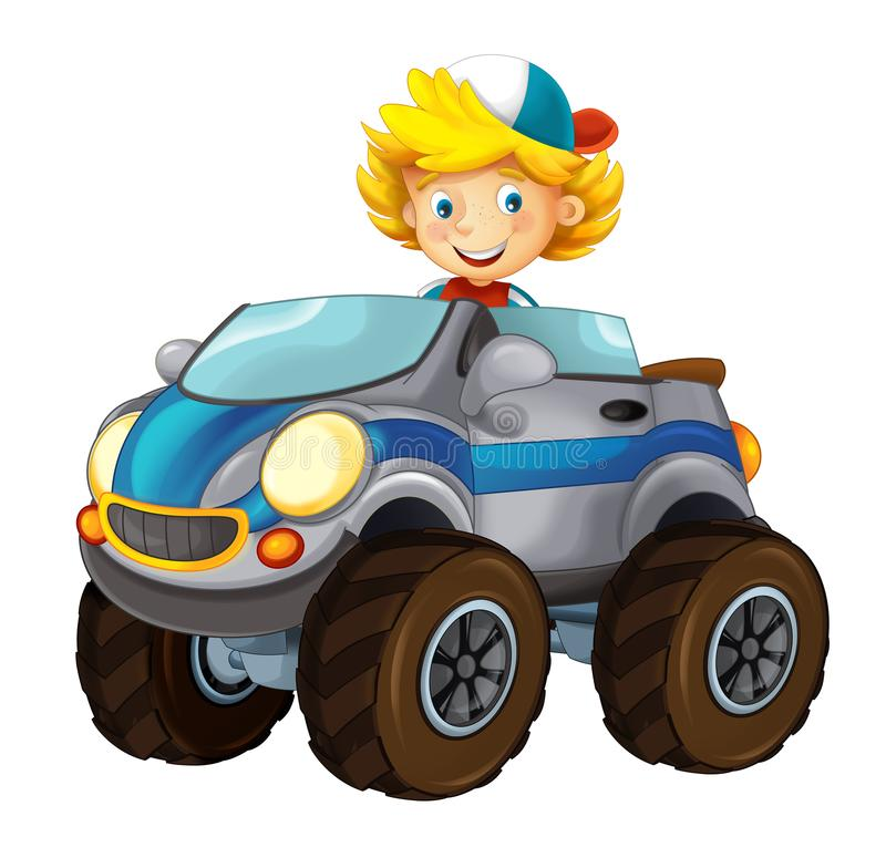 Cartoon small off road car with kid - cabriolet on white background stock illustration