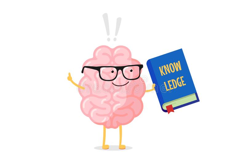 Cartoon smart brain character in glasses holding blue book with knowledge inscription and exclamation mark. Central. Nervous system organ education funny flat royalty free illustration