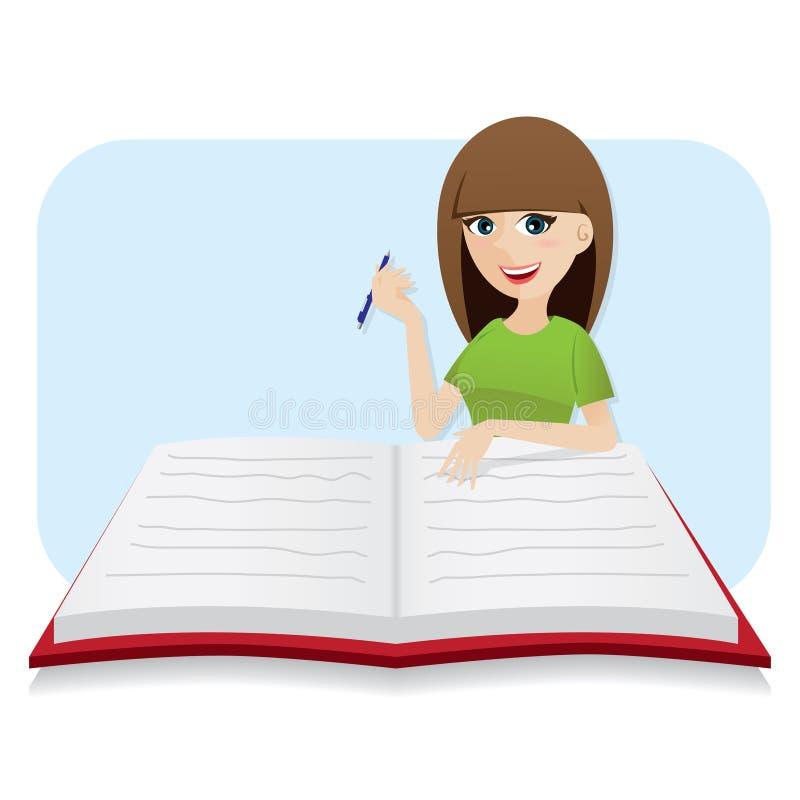 Cartoon Diary: Cartoon Smart Girl Writing Big Diary Stock Vector