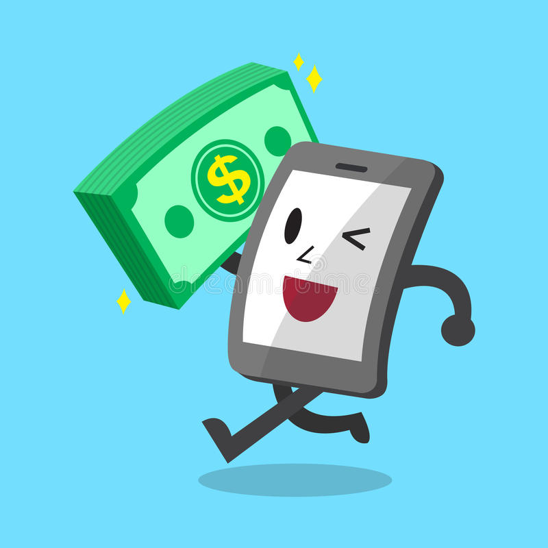 Cartoon smartphone carrying big money stack royalty free illustration