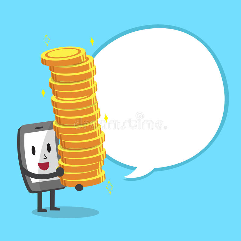 Cartoon smartphone character carrying big money stack with white speech bubble stock illustration