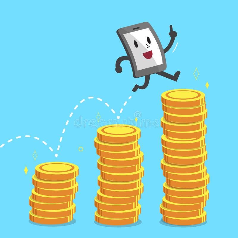 Cartoon smartphone character jumping over money stacks. For design stock illustration