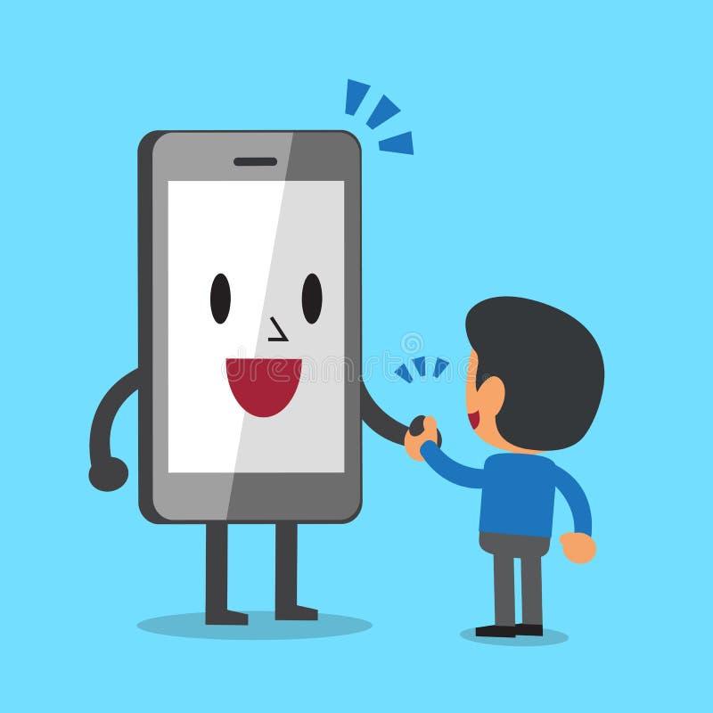 Cartoon Smartphone Carrying Big Money Stock Vector