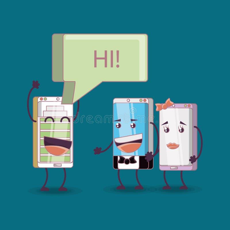 Cartoon smartphones design stock illustration