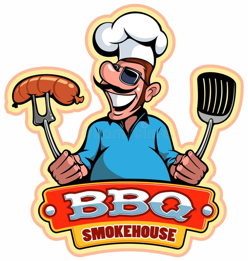 A cartoon smiled mustached cook chef character holding a grilled meat, vector cartoon character. A cartoon smiled mustached cook chef character holding a royalty free illustration