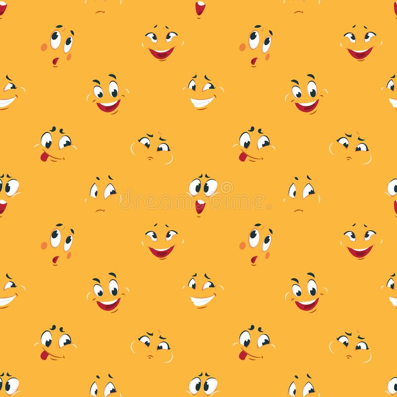Cartoon smiley pattern. Funny crazy faces happy cute smile caricature fun comic expressions Cartoons face seamless royalty free illustration