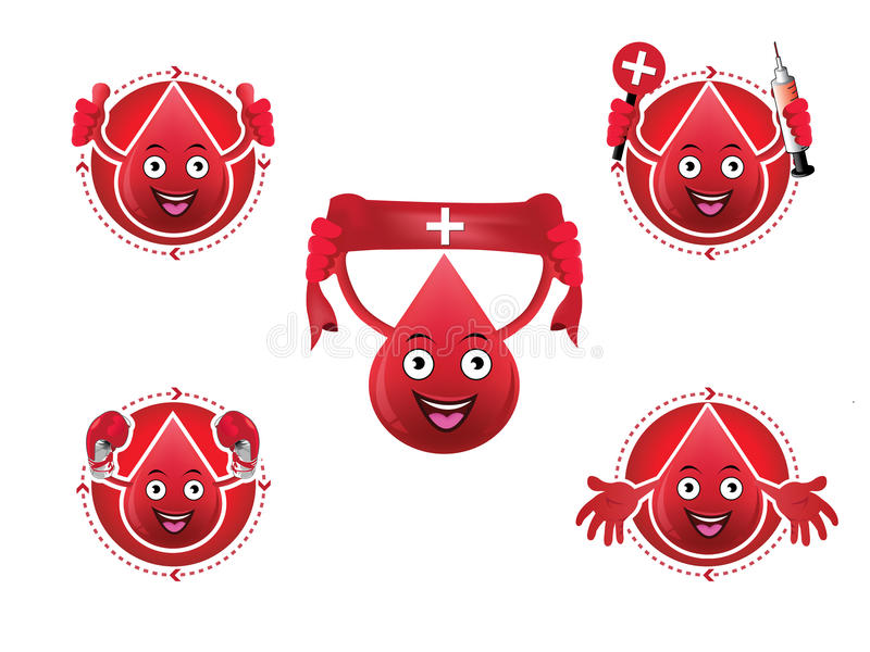 Cartoon smiling blood icons set stock illustration