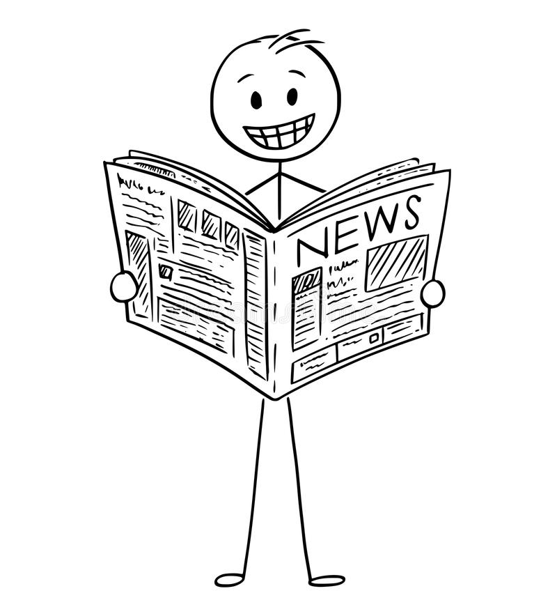 Cartoon of Smiling Businessman Reading Good News in Newspaper stock illustration