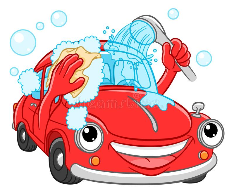 Cartoon smiling car washes royalty free stock photo