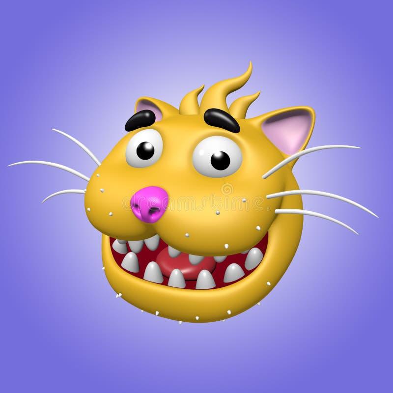 Cartoon smiling cat head. 3D illustration. royalty free illustration