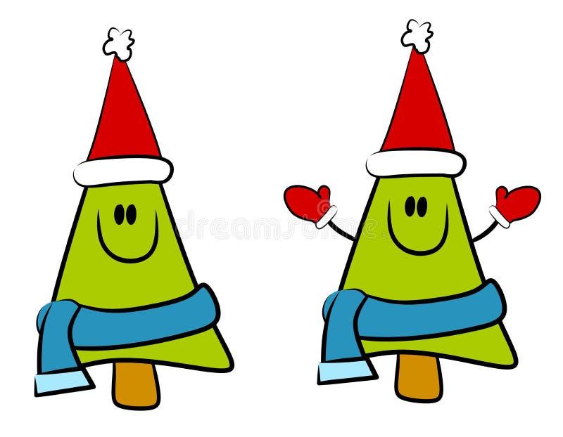 Cartoon Smiling Christmas Tree royalty free stock photo