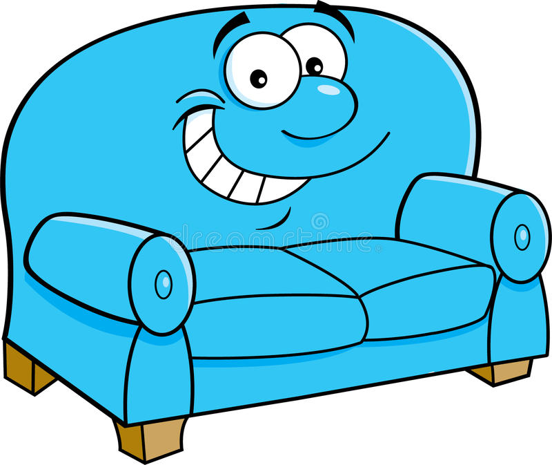 Cartoon Smiling Couch. Stock Vector. Illustration Of