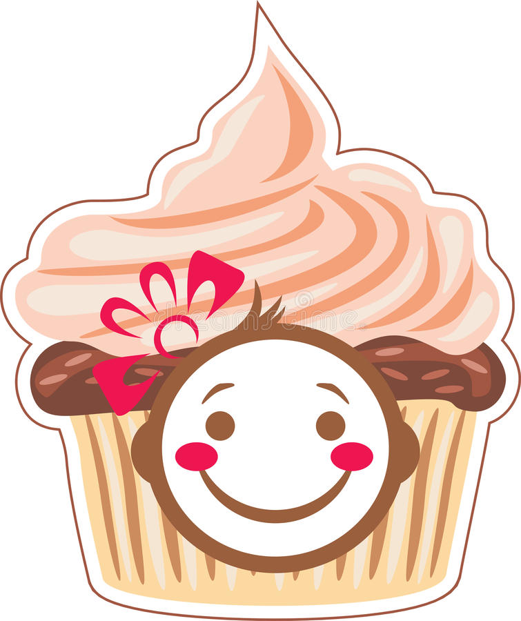 Cartoon smiling cupcake stock images