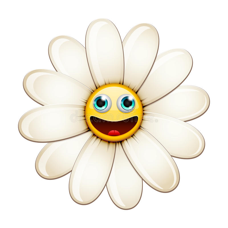 Smiling flower, happy daisy stock illustration