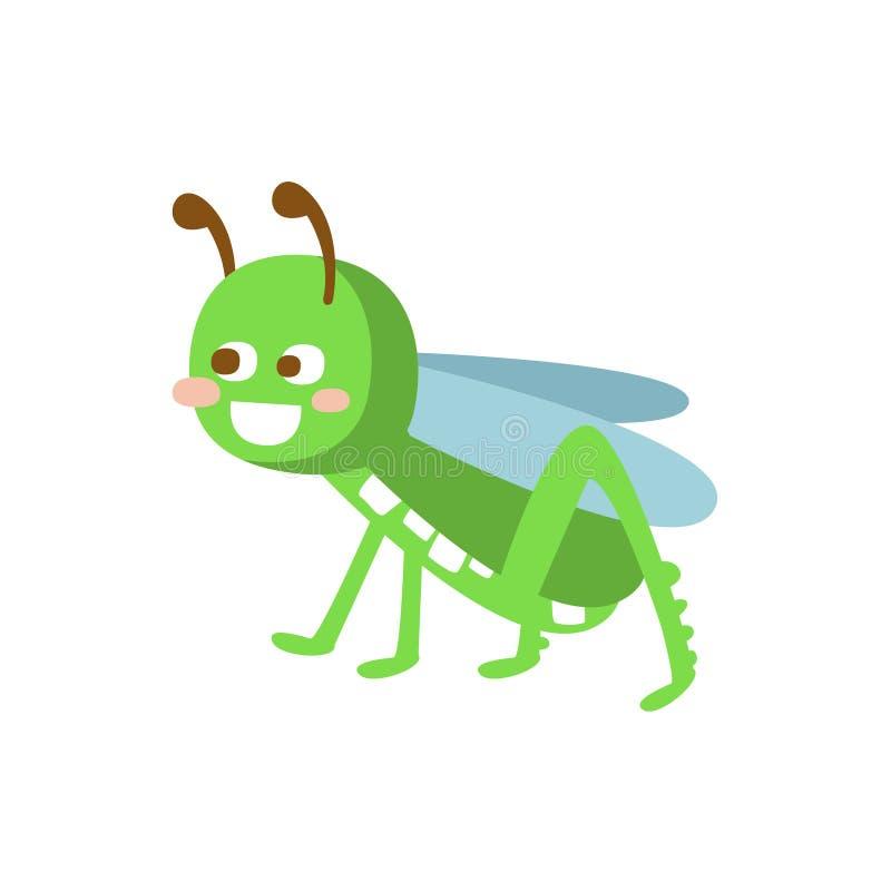 Cartoon smiling grasshopper colorful character vector Illustration stock illustration