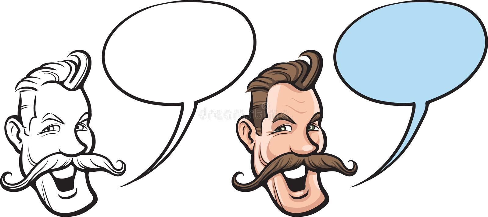 Cartoon smiling man with big mustaches face stock illustration