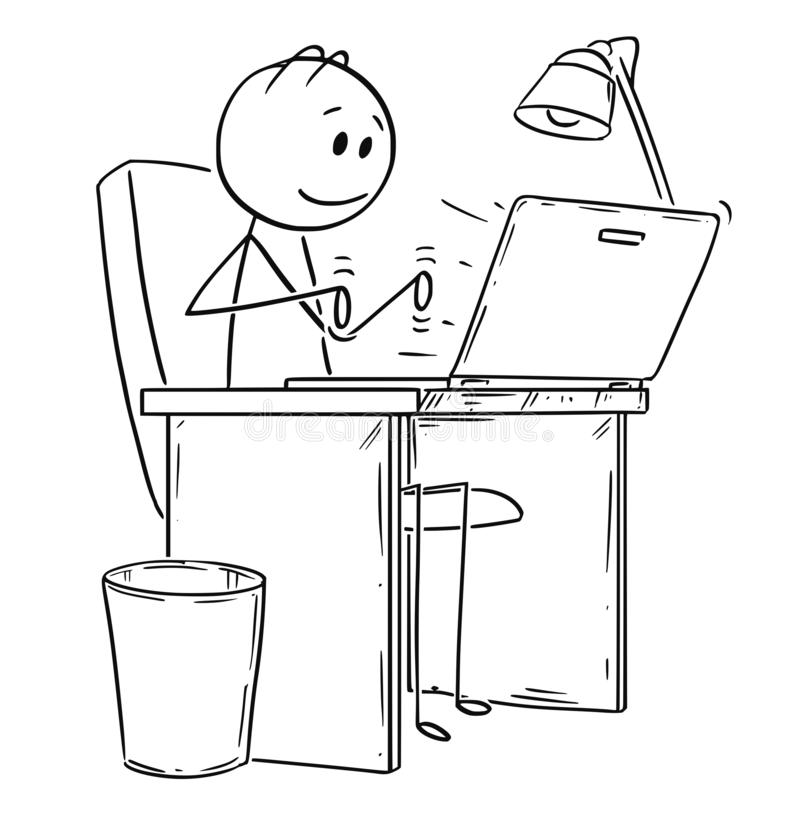 Cartoon of Smiling Man or Businessman Working or Typing on Laptop or Notebook Computer. Cartoon stick drawing conceptual illustration of smiling man or vector illustration