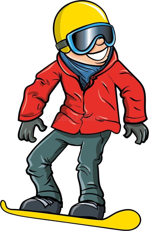 Cartoon smiling olympic snowboarder royalty free illustration