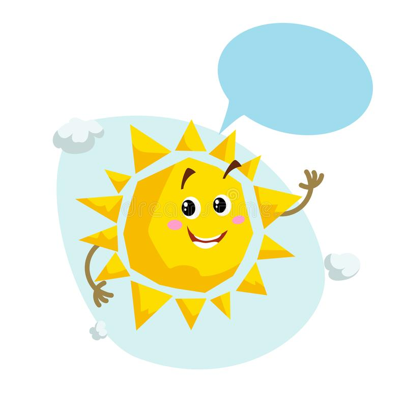 Cartoon smiling sun mascot. Weather and summer symbol. Shinning and speaking character with dummy speech bubble and little clouds. vector illustration