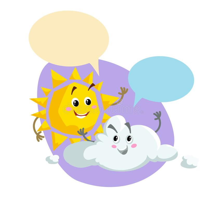 Cartoon smiling sun and pretty cloud mascots. Weather and summer symbol. Shinning and speaking characters with dummy speech bubble vector illustration