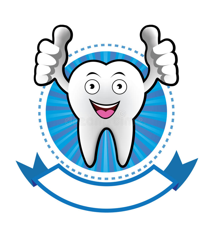 Cartoon Smiling tooth banner stock illustration