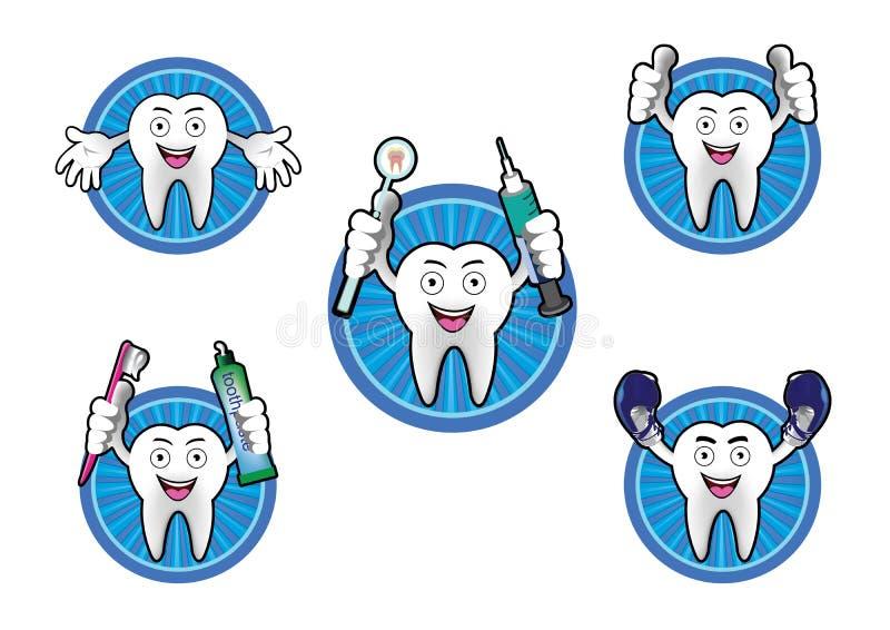 Cartoon Smiling tooth icons set stock illustration