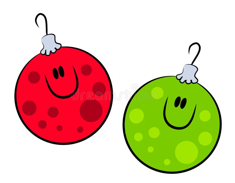 Cartoon Smiling Xmas Ornaments royalty free stock photos