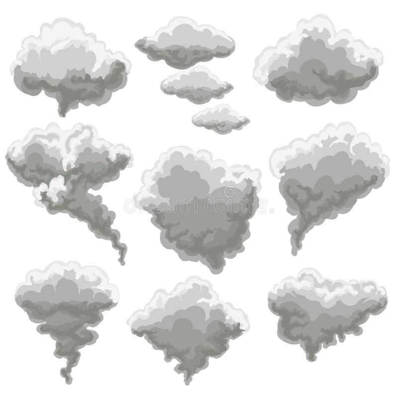 Cartoon smoking fog clouds vector illustration