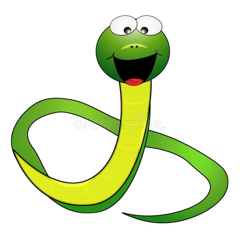 Cartoon Snake. Friendly cartoon snake with bright smile vector illustration