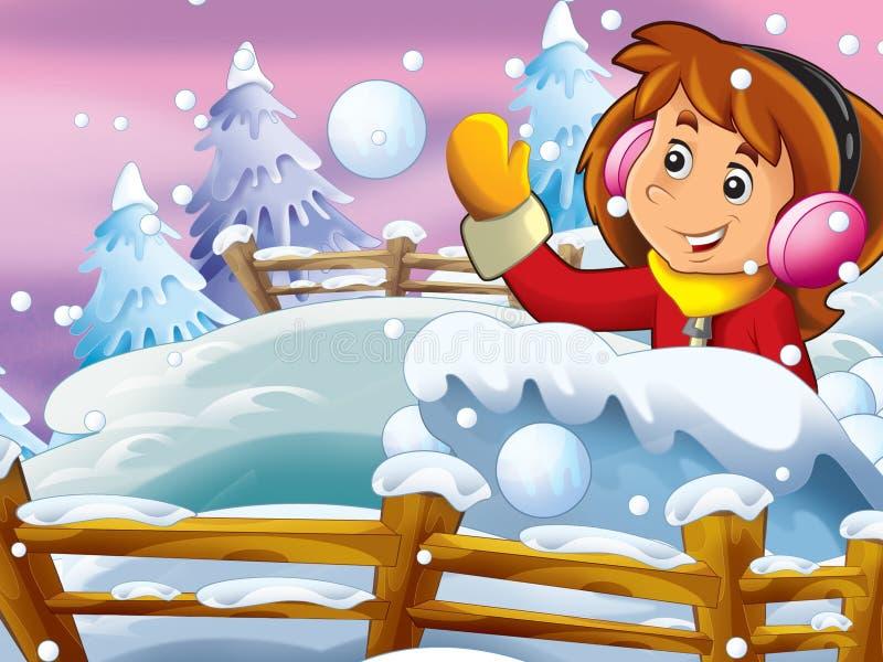 Cartoon snow fight royalty free illustration
