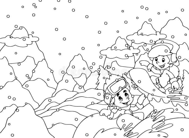 Cartoon snow fight - kid doing freestyle slide stock illustration