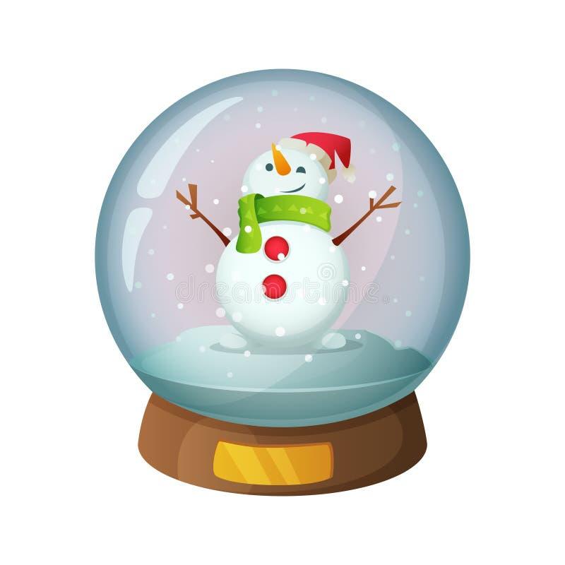 Cartoon snow glass globe with Christmas snowman inside. Vector illustration royalty free illustration