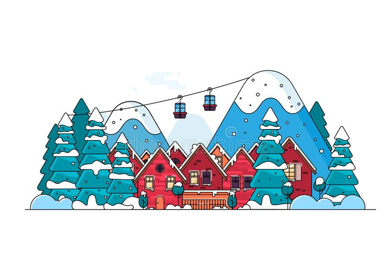Cartoon snow home and rural cottages set. stock illustration